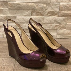 NINE WEST PATENT WEDGE - Size 8